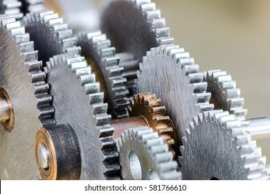 detailed view of gearwheels from industrial machine closeup