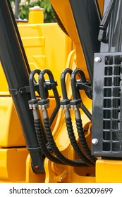 Detailed view of heavy vehicle, of the building dozer or other construction machinery
