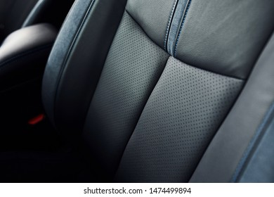 Detailed view of modern car's interior. Luxury and quality automobile.