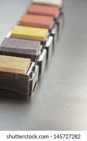 detailed view on beautifully colored stamping pads aligned in a