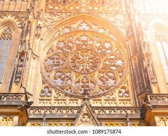 Detailed view on gothic rose window of St. Vitus Cathedral in Prague, Czech Republic.