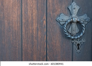 Detailed view on old Wooden Church door in Skipton, North Yorkshire, England