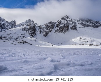 The detailed view of structures of snow in High Tatras. High Tatras, Slovakia.