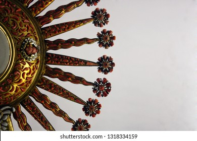 A detailed view of a stunning old precious artistic monstrance/ostensory richly worked. Village of Mdina, Isle of Malta. Europe. Maltese Art.