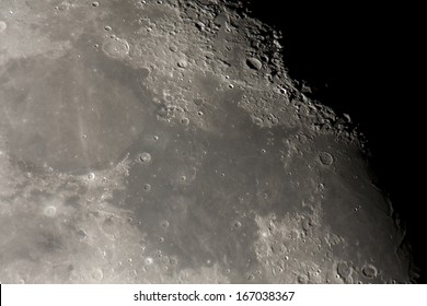detailed view taken using telescope of oceanus and maria on the moon