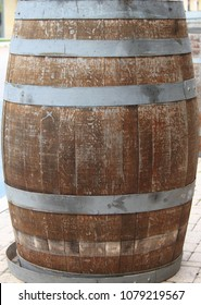 Detailed view of a wood barrel used for wine