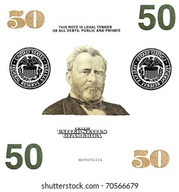 details 50 $ banknote isolated on white background