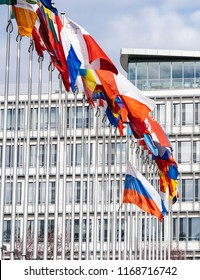 Details of all Flags and Tricolour Russia flying half-mast at Council of Europe as a tribute and mourning of victims of fire at Zimnyaya Vishnya Winter Cherry shopping centre Kemerovo.