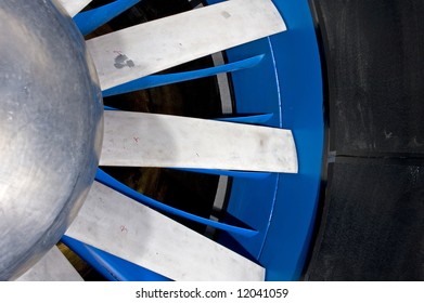 The details of the aluminum cast blades of an industrial wind tunnel