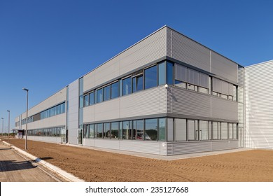 details of aluminum facade and aluminum panels on industrial building