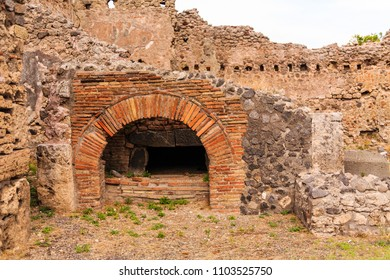 Details of the Ancient city of Pompeii destroyed by volcano of Vesuvius