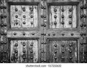 Details of an ancient Italian door in Florence, Italy (Black and White).