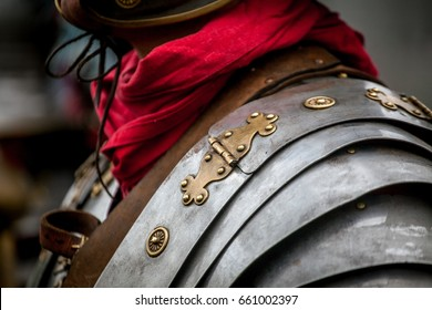 Details of ancient Roman soldier or legionary body armor