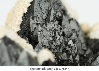 Details of Aragonite on Morion Quartz (Smoky Quartz)