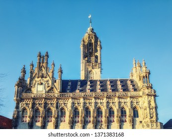 Details of architecture of medieval city hall in Middelburg, province Zeeland, Netherlands