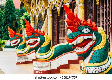 The details of architecture of Wat Luang Pakse is a ancient Buddhist temple in Pakse in south Laos