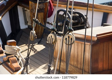 details of a beautiful old wooden sailboat