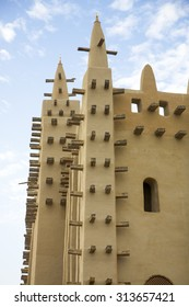 Details of the big mosque in Djenne  and the traditional mud building in Mali.