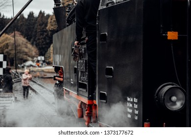 Details of a black steam locomotive