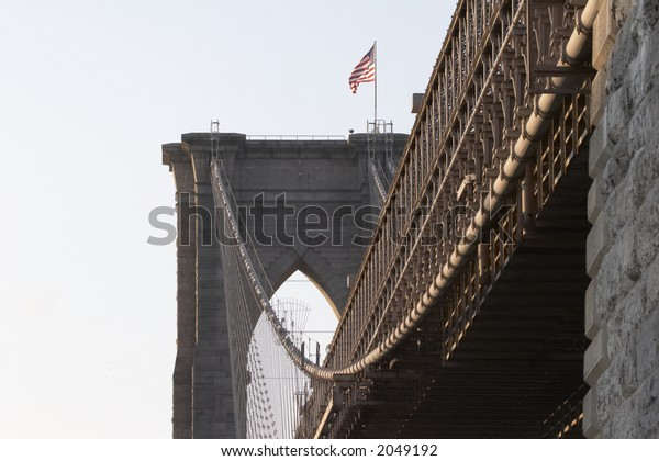 Details of Brooklyn Bridge in the late evening