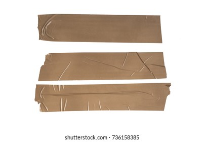 Details of the brown adhesive tape isolated on white background
