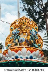Details in a Buddhist temple Dag Shang Kagyu in Panillo huesca Aragón Spain