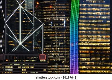 Details of business buildings night scene in Hong Kong