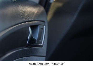 Details of a car door handle inside