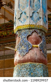 Details of carved and painted pillar in outdoor mosque at the Mausoleum of Apak Khoja and Tomb of the Fragrant Concubine in Kashgar, or Kashi, Xinjiang, China.
