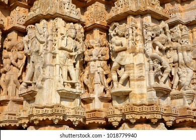 Details of the carvings of the Sat Bis Deori Jain Temple, located inside the fort (Garh) of Chittorgarh, Rajasthan, India