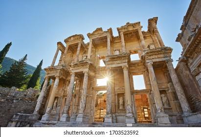 Details of Celsus Library, Ephesus Selcuk Turkey