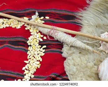 Details of Chacana (Chakana) or Ceremony in homage to Pachamama (Mother Earth) - is an aboriginal ritual of the indigenous peoples of the central Andes, Ecuador