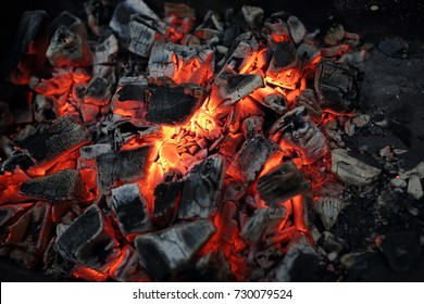 Details of charcoal for barbecue at picnic