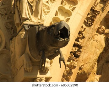 Details and closeup and gargoyle Cathedral of Reims in France