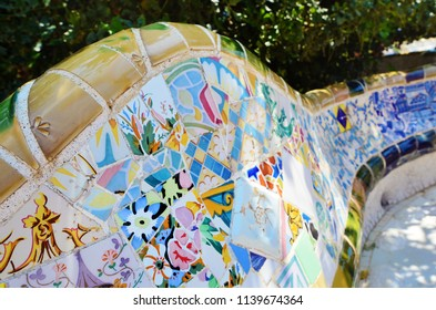 Details of a Colorful Ceramic Bench at Park Guell Designed by Antoni Gaudi, Barcelona, Spain.