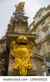 Details of the The Column (Pestsäule). Plague Column or Trinity Column  is a Holy Trinity column located in Vienna, Austria. This Baroque memorial was made in 1679 after the Great Plague epidemic.