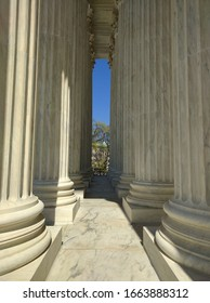 Details of the columns at the entrance of the Supreme Court building in Washington DC - March 2016