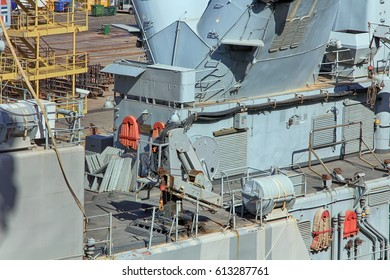 details of the cover of a modern battleship