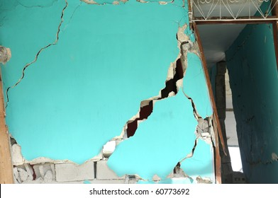 Details of a  cracked building due to earthquake.