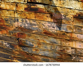 Details of Derelict Wooden Old Traditional Fishing Boat Wreck Lachi Latsi Port near Polis Cyprus