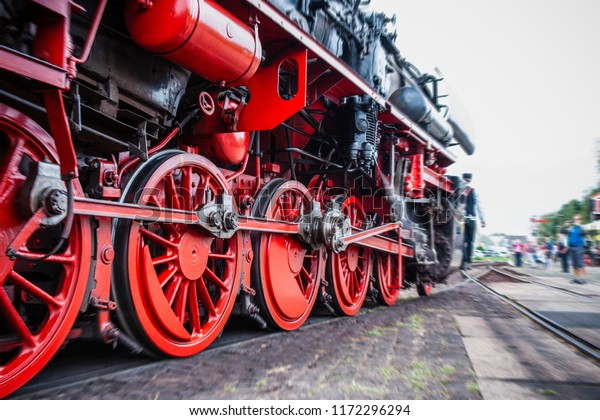Details and different images of locomotives, marshalling yard, wagons, carriages and train stations in an old industrial heritage museum in the netherlands at Beekbergen
