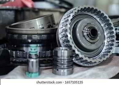 Details of a disassembled automatic transmission of a passenger car with a shallow depth of field
