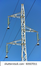 Details of an Electricity Pole with the sky on the background