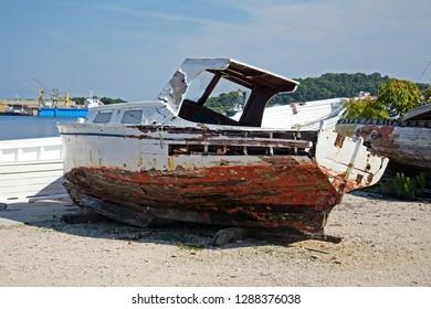 Details of end of summer at Mali Losinj boat's graveyard, Croatia,Europe, 2