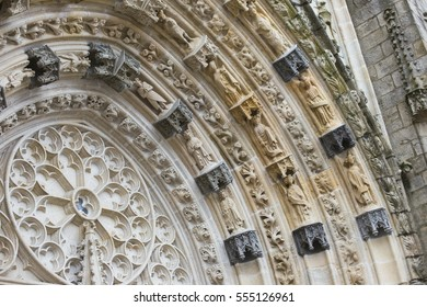 details of the entrance to the Gothic church in France