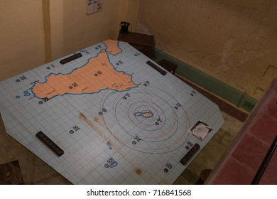 details of equipment  in the RAF Sector Operations Room used to plan the defense of Malta and invasion of Sicily during world war two Headquarters Lascaris War Rooms, Valletta, Malta, June 2017