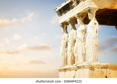 details of Erechtheion temple in Acropolis of Athens at sunrise, Greece