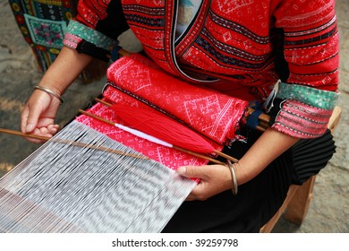 Details of an ethnic minority hand loom weaver in Guangxi, China
