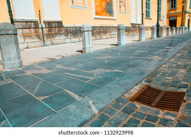 details of european pavement of pedestrian street