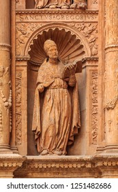 Details of the facade of Cathedral of Santa Maria of Palma (Cathedral of St. Mary of Palma) or La Seu, a Gothic Roman Catholic cathedral in Palma de Mallorca in Mallorca on Balearic islands in Spain